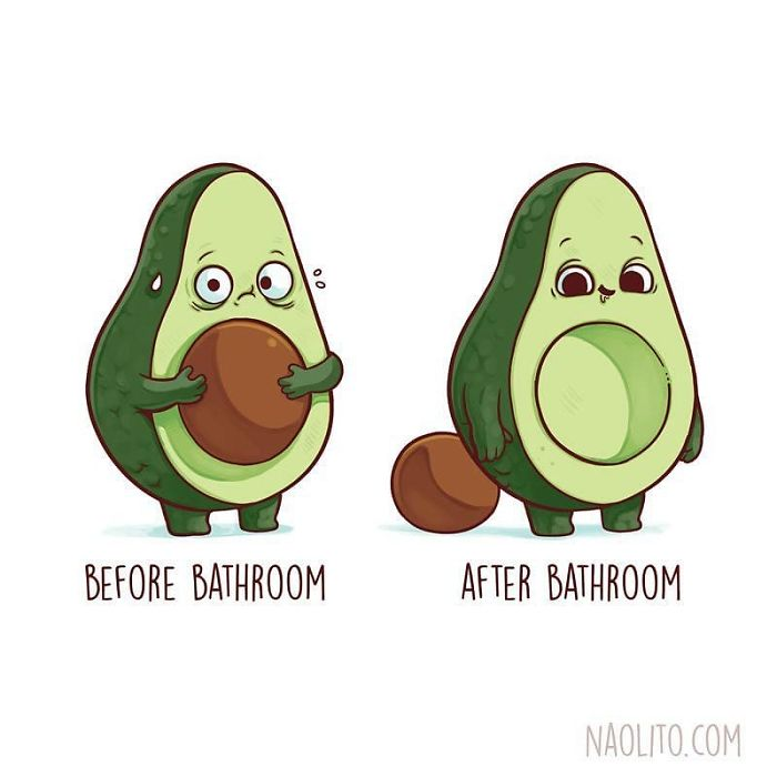 Before Bathroom After Bathroom Avocado Illustration